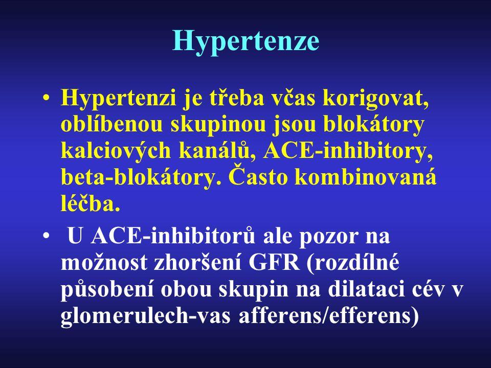Hypertenze Hypertenzi je třeba včas korigovat, oblíbenou skupinou jsou blokátory kalciových kanálů, ACE-inhibitory, beta-blokátory. Často kombinovaná