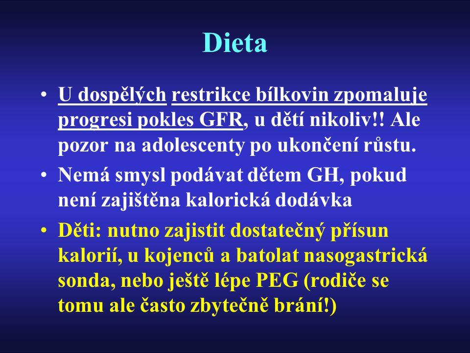 Dieta U dospělých restrikce bílkovin zpomaluje progresi pokles GFR, u dětí nikoliv!! Ale pozor na adolescenty po ukončení růstu. Nemá smysl podávat dě