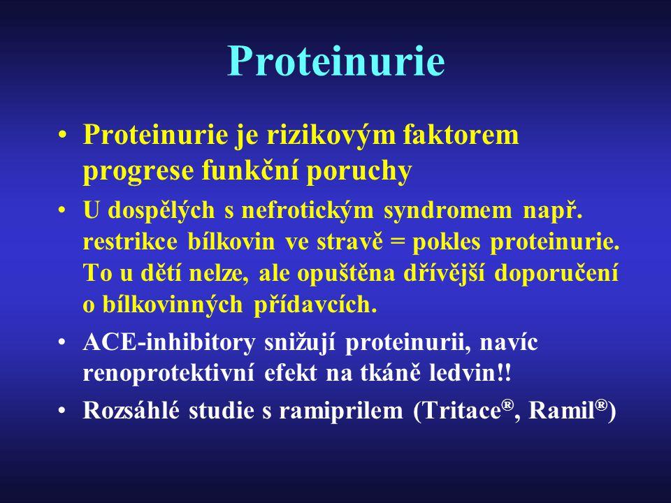 Proteinurie Proteinurie je rizikovým faktorem progrese funkční poruchy U dospělých s nefrotickým syndromem např. restrikce bílkovin ve stravě = pokles