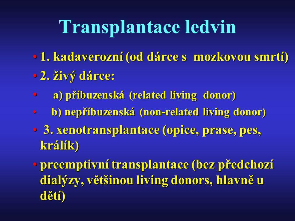 Transplantace ledvin 1. kadaverozní (od dárce s mozkovou smrtí)1. kadaverozní (od dárce s mozkovou smrtí) 2. živý dárce:2. živý dárce: a) příbuzenská
