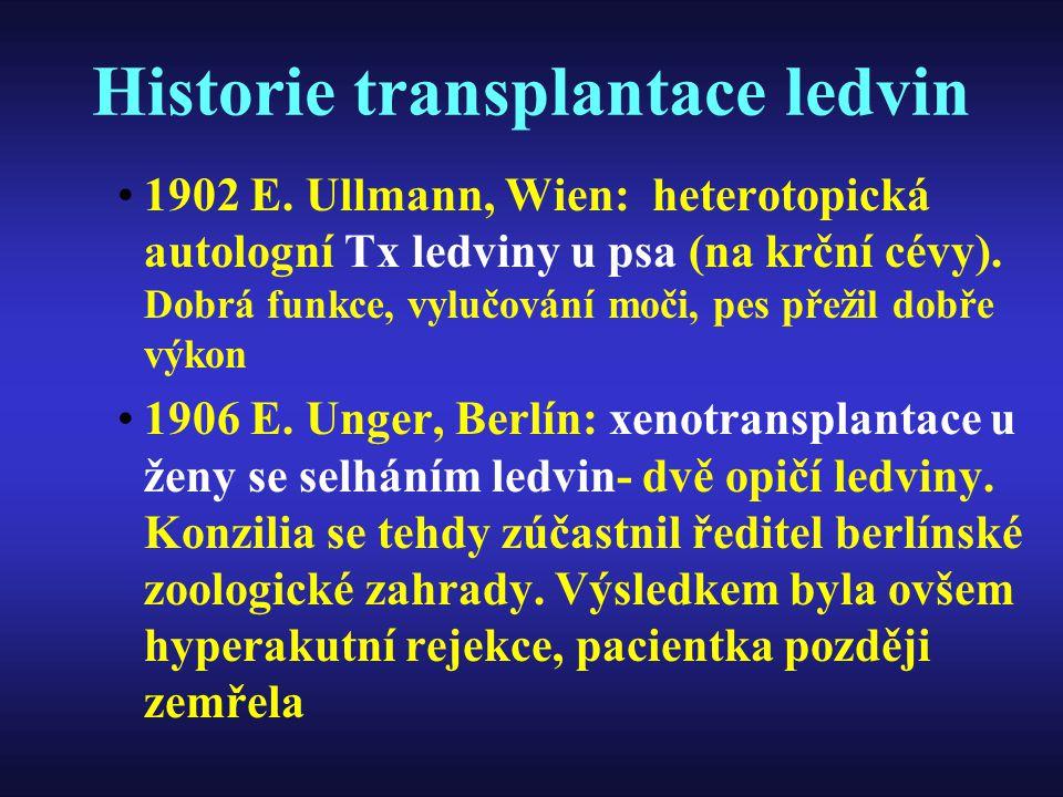 Historie transplantace ledvin 1902 E. Ullmann, Wien: heterotopická autologní Tx ledviny u psa (na krční cévy). Dobrá funkce, vylučování moči, pes přež