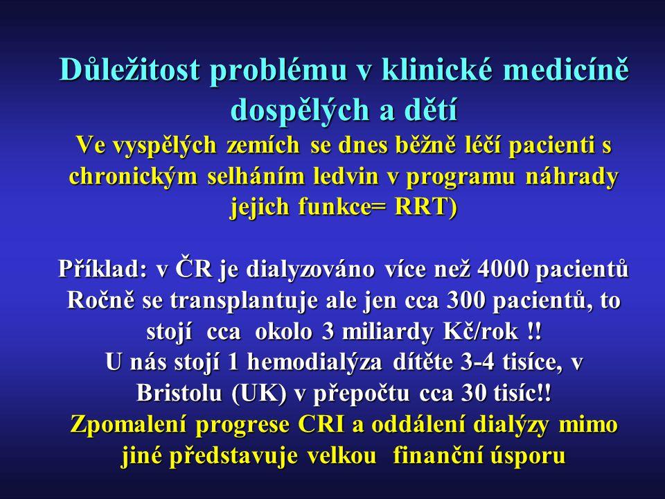 ESRD epidemiologie a léčba EU(37.3 mil) USA (272.7 mil)EU(37.3 mil) USA (272.7 mil) NP 4 140 /rok, 118/PMP 78 592/rok, 288/PMPNP 4 140 /rok, 118/PMP 78 592/rok, 288/PMP RRT 244 508, 655/PMP 305 303, 1120/PMPRRT 244 508, 655/PMP 305 303, 1120/PMP HD140 812 (57,6%) 190 814 (62,5%)HD140 812 (57,6%) 190 814 (62,5%) PD20 390 (8,3%)30 225 (9,9%)PD20 390 (8,3%)30 225 (9,9%) TX83 305 (fce 34,1%)84 264 (fce 27,6%)TX83 305 (fce 34,1%)84 264 (fce 27,6%) TX akt11 333/rok- 30,4/PMP 12 238/rok- 44,9/PMPTX akt11 333/rok- 30,4/PMP 12 238/rok- 44,9/PMP Zemřelí25 830, 69 PMP55 658, 204 PMPZemřelí25 830, 69 PMP55 658, 204 PMP Nephrol Dial Transplant (2000) 15 Suppl 7Nephrol Dial Transplant (2000) 15 Suppl 7