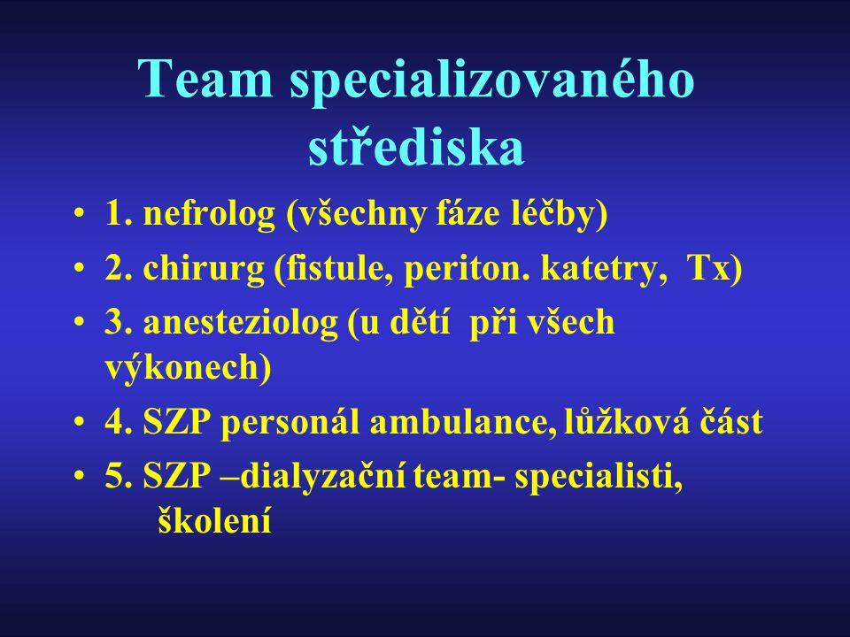 Team specializovaného střediska 1. nefrolog (všechny fáze léčby) 2. chirurg (fistule, periton. katetry, Tx) 3. anesteziolog (u dětí při všech výkonech