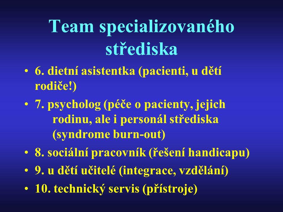 Team specializovaného střediska 6. dietní asistentka (pacienti, u dětí rodiče!) 7. psycholog (péče o pacienty, jejich rodinu, ale i personál střediska