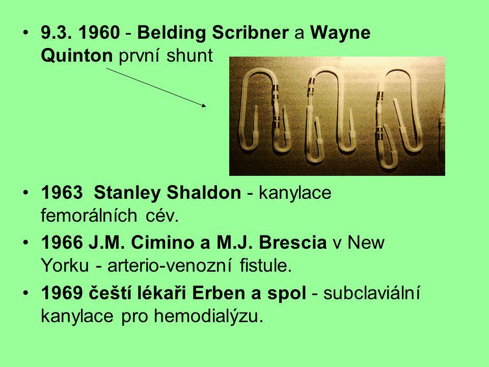 9.3. 1960 - Belding Scribner a Wayne Quinton první shunt 1963 Stanley Shaldon - kanylace femorálních cév. 1966 J.M. Cimino a M.J. Brescia v New Yorku