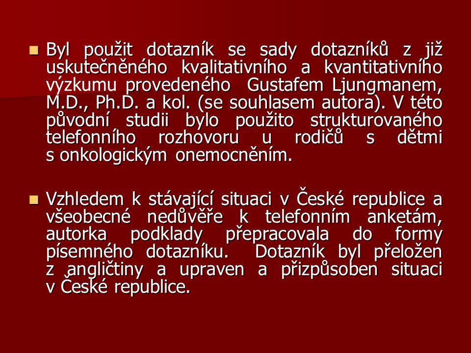 Byl použit dotazník se sady dotazníků z již uskutečněného kvalitativního a kvantitativního provedeného Gustafem Ljungmanem, M.D., Ph.D. a kol. (se sou