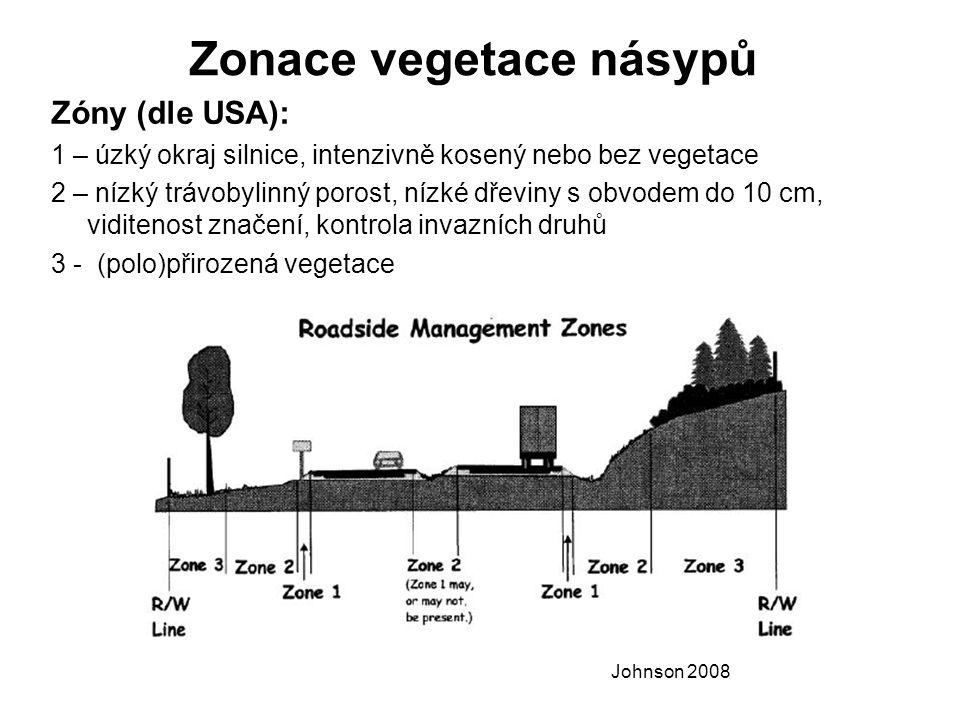 Zonace vegetace násypů Zóny (dle USA): 1 – úzký okraj silnice, intenzivně kosený nebo bez vegetace 2 – nízký trávobylinný porost, nízké dřeviny s obvodem do 10 cm, viditenost značení, kontrola invazních druhů 3 - (polo)přirozená vegetace Johnson 2008
