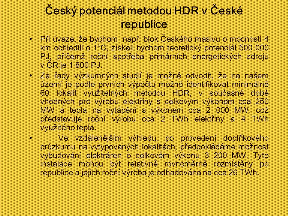 Český potenciál metodou HDR v České republice Při úvaze, že bychom např. blok Českého masivu o mocnosti 4 km ochladili o 1°C, získali bychom teoretick