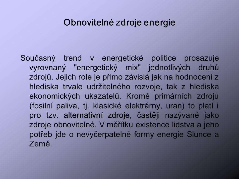 Rozdělení OZE dle zdroje Sluneční energieSluneční energie Vodní energieVodní energie Větrná energieVětrná energie Geotermální energieGeotermální energie Energie mořských vlnEnergie mořských vln Parní energieParní energie Svalová energieSvalová energie Světelná energieSvětelná energie Energie ohněEnergie ohně