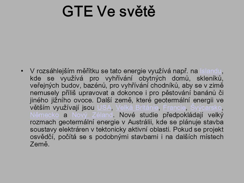 GTE Ve světě V rozsáhlejším měřítku se tato energie využívá např. na Islandu, kde se využívá pro vyhřívání obytných domů, skleníků, veřejných budov, b
