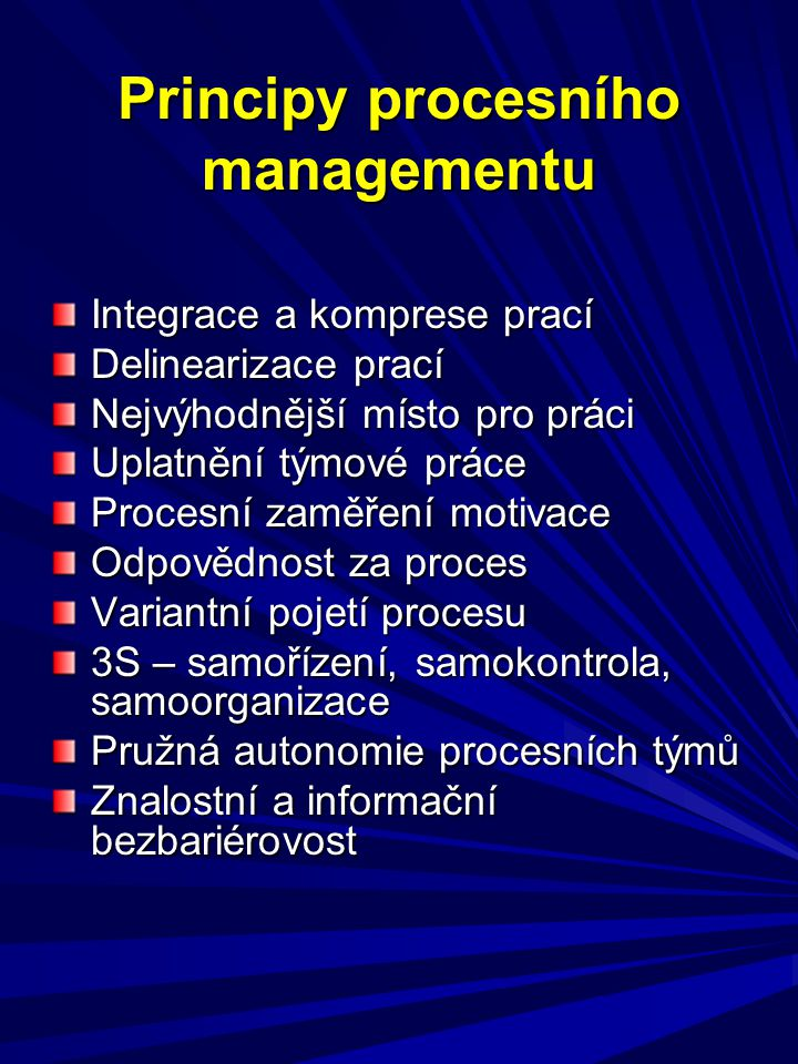 Principy procesního managementu Integrace a komprese prací Delinearizace prací Nejvýhodnější místo pro práci Uplatnění týmové práce Procesní zaměření motivace Odpovědnost za proces Variantní pojetí procesu 3S – samořízení, samokontrola, samoorganizace Pružná autonomie procesních týmů Znalostní a informační bezbariérovost