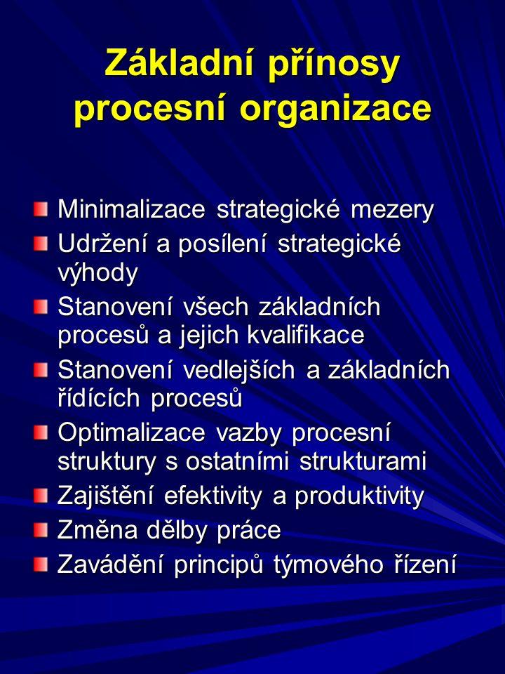 Základní přínosy procesní organizace Minimalizace strategické mezery Udržení a posílení strategické výhody Stanovení všech základních procesů a jejich
