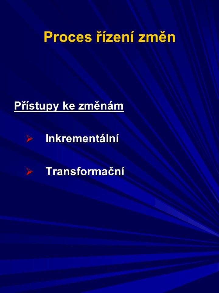 Proces řízení změn Přístupy ke změnám  Inkrementální  Transformační