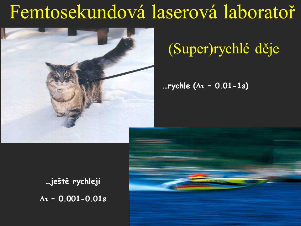 (Super)rychlé děje …rychle (  = 0.01-1s) …ještě rychleji  = 0.001-0.01s Femtosekundová laserová laboratoř