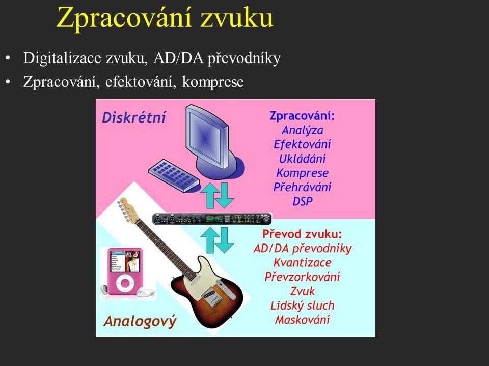 Digitalizace zvuku, AD/DA převodníky Zpracování, efektování, komprese Zpracování zvuku