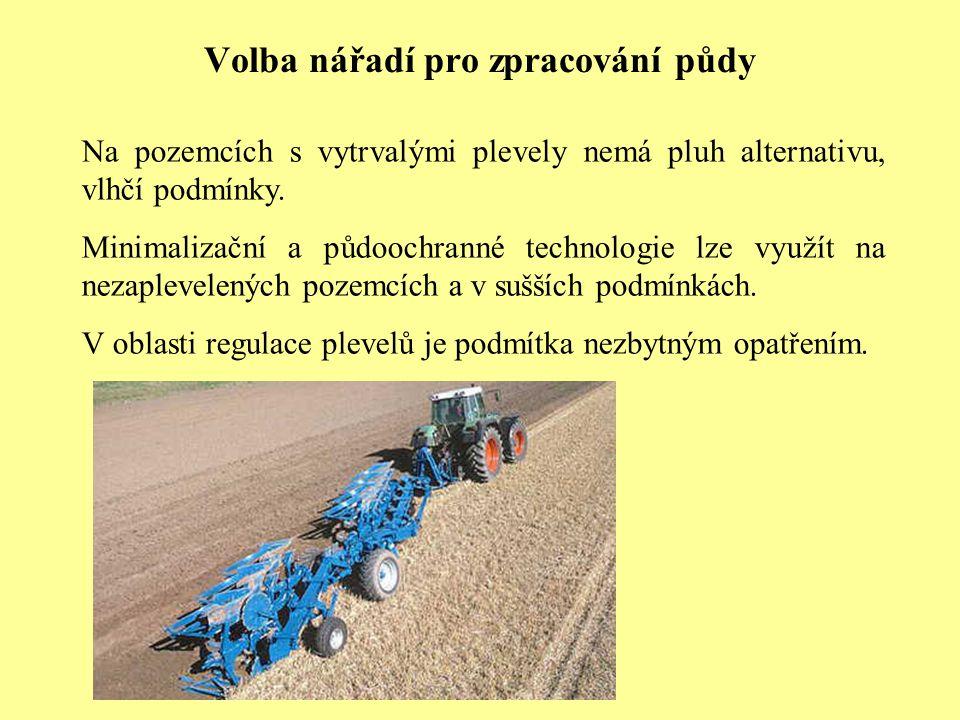 Volba nářadí pro zpracování půdy Na pozemcích s vytrvalými plevely nemá pluh alternativu, vlhčí podmínky. Minimalizační a půdoochranné technologie lze