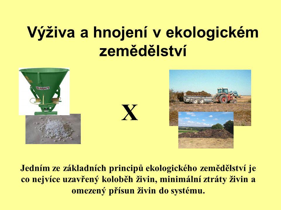 Výživa a hnojení v ekologickém zemědělství X Jedním ze základních principů ekologického zemědělství je co nejvíce uzavřený koloběh živin, minimální ztráty živin a omezený přísun živin do systému.