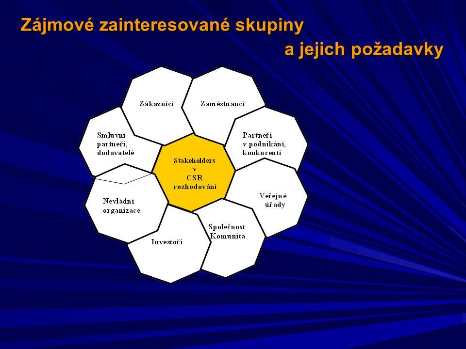 Zájmové zainteresované skupiny a jejich požadavky Zájmové zainteresované skupiny a jejich požadavky