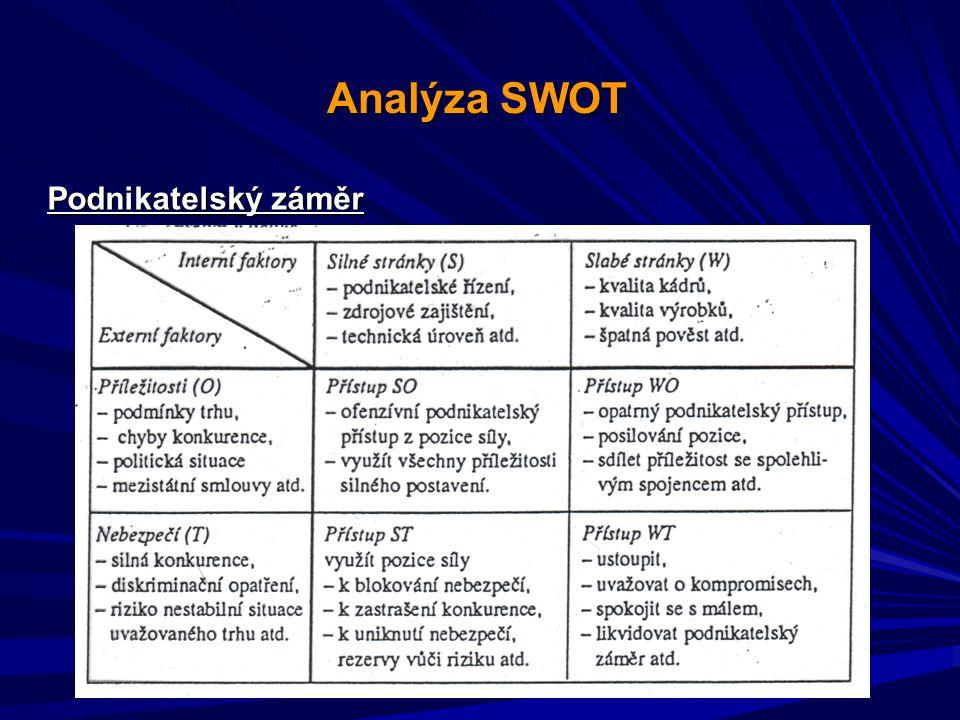 Analýza SWOT Podnikatelský záměr