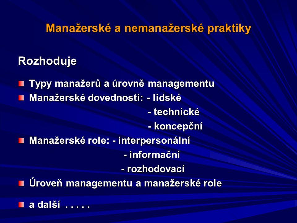 Manažerské a nemanažerské praktiky Rozhoduje Typy manažerů a úrovně managementu Manažerské dovednosti: - lidské - technické - technické - koncepční - koncepční Manažerské role: - interpersonální - informační - informační - rozhodovací - rozhodovací Úroveň managementu a manažerské role a další.....
