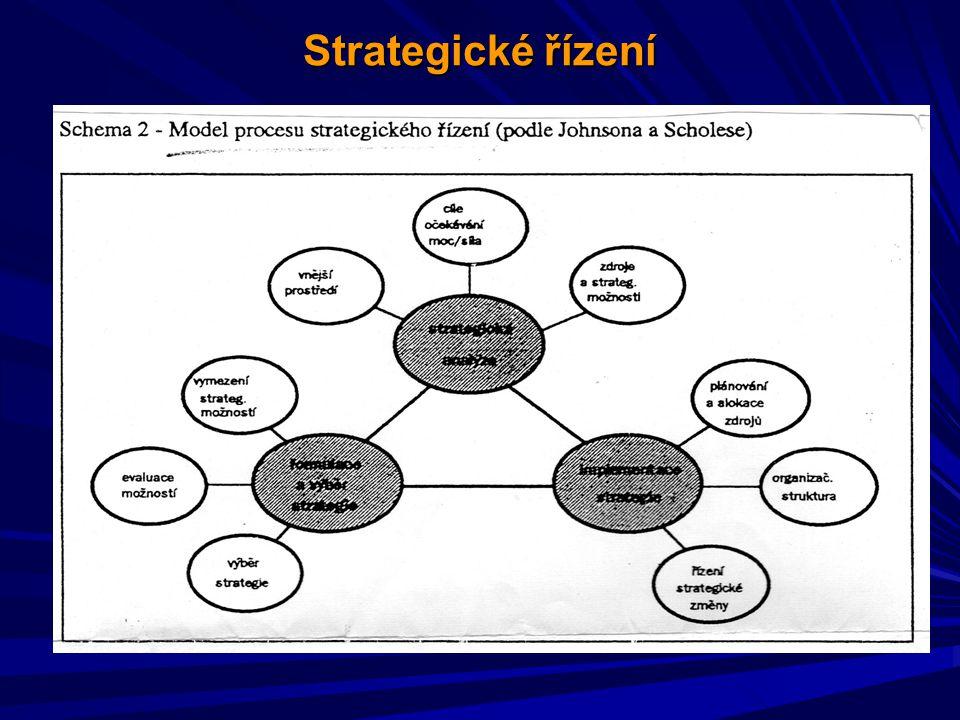 Vlivy vnějšího a vnitřního prostředí Analýza vnějšího a vnitřního prostředí vnějšího a vnitřního prostředíIdentifikace hlavních faktorů změn hlavních faktorů změnRozhodování o dalším směřování a strategii o dalším směřování a strategiiPlánování cílů, kroků a cest naplnění cílů, kroků a cest naplnění Cíle Cíle