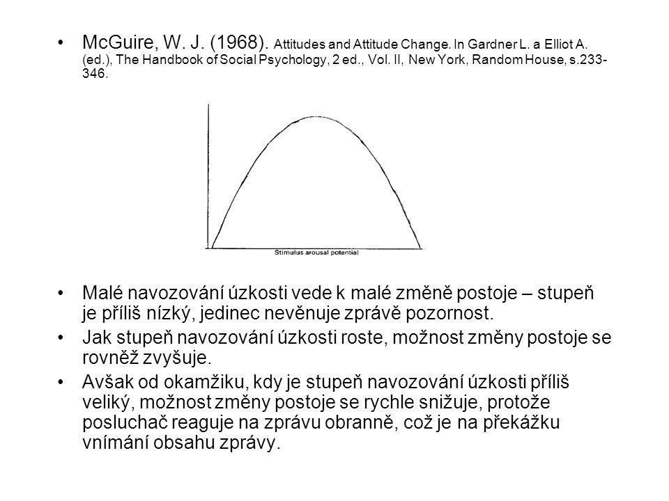 McGuire, W. J. (1968). Attitudes and Attitude Change. In Gardner L. a Elliot A. (ed.), The Handbook of Social Psychology, 2 ed., Vol. II, New York, Ra