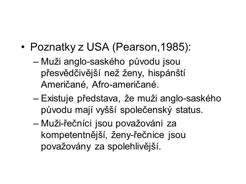Poznatky z USA (Pearson,1985): –Muži anglo-saského původu jsou přesvědčivější než ženy, hispánští Američané, Afro-američané. –Existuje představa, že m
