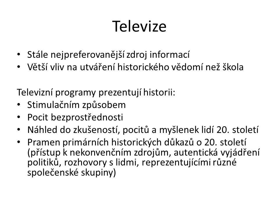 Televizní pořady s historickou tématikou: 1.historické rekonstrukce 2.jednorázové pořady 3.větší televizní série 4.Postavení zpravodajských programů – analýza obsahu i analýza způsobů zpracování informací, manipulace atd.