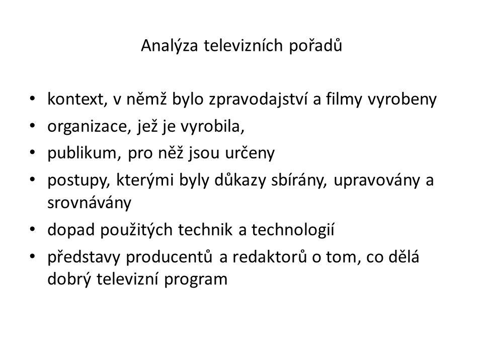 Analýza televizních pořadů kontext, v němž bylo zpravodajství a filmy vyrobeny organizace, jež je vyrobila, publikum, pro něž jsou určeny postupy, kterými byly důkazy sbírány, upravovány a srovnávány dopad použitých technik a technologií představy producentů a redaktorů o tom, co dělá dobrý televizní program