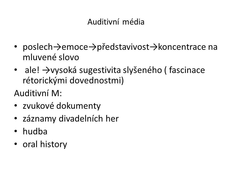 Auditivní média poslech→emoce→představivost→koncentrace na mluvené slovo ale.