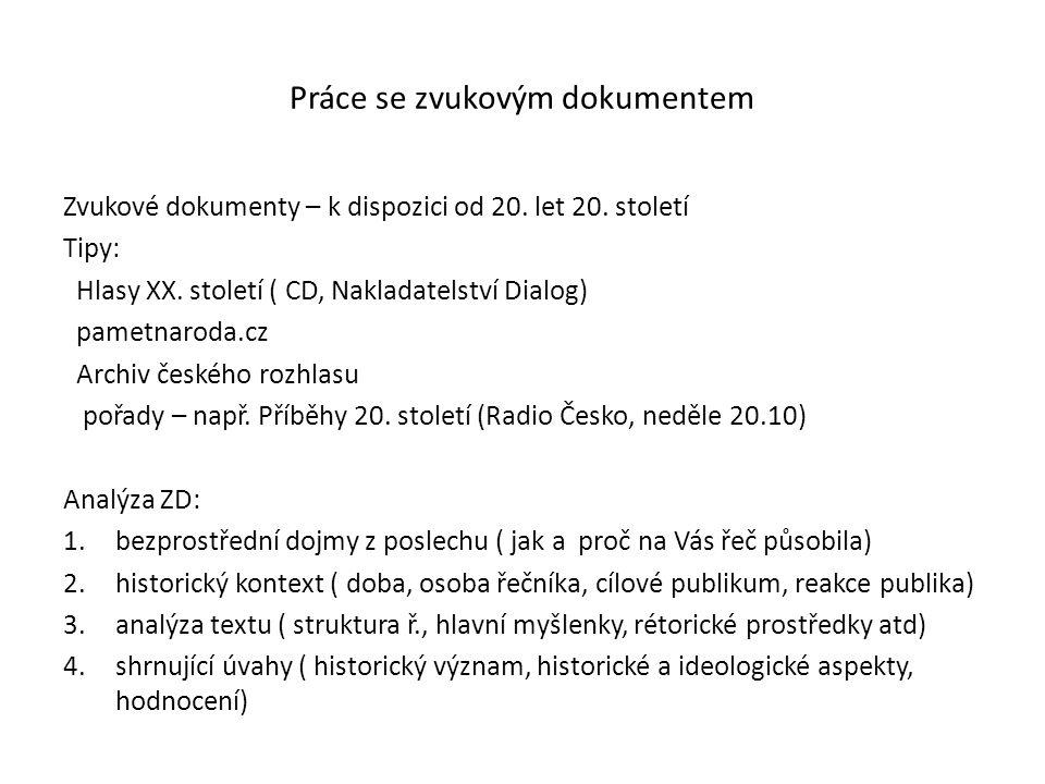 Práce se zvukovým dokumentem Zvukové dokumenty – k dispozici od 20.
