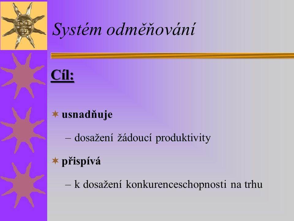 Systém odměňování Cíl:  usnadňuje –dosažení žádoucí produktivity  přispívá –k dosažení konkurenceschopnosti na trhu