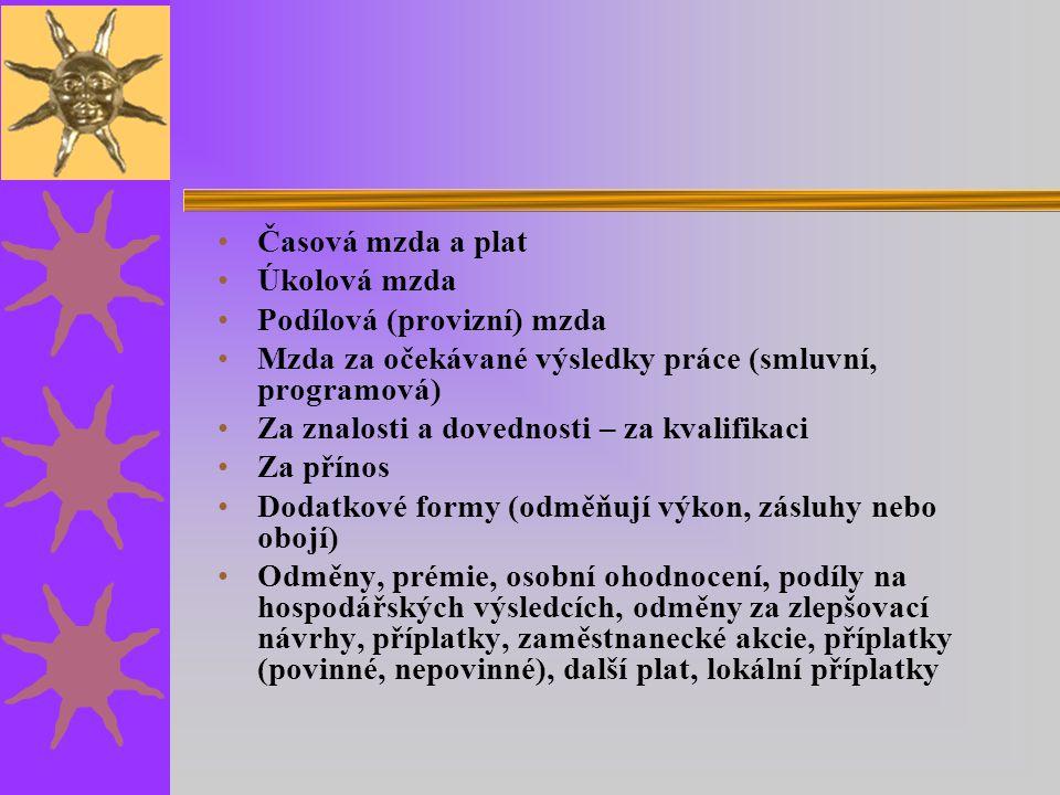 Časová mzda a plat Úkolová mzda Podílová (provizní) mzda Mzda za očekávané výsledky práce (smluvní, programová) Za znalosti a dovednosti – za kvalifik