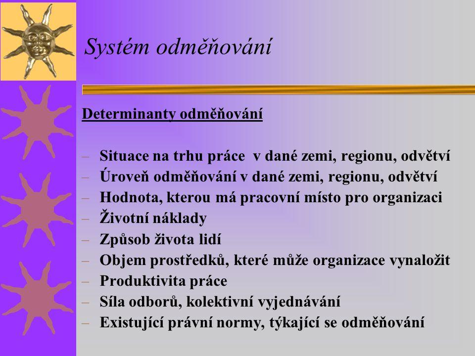 Systém odměňování Determinanty odměňování – Situace na trhu práce v dané zemi, regionu, odvětví – Úroveň odměňování v dané zemi, regionu, odvětví – Ho