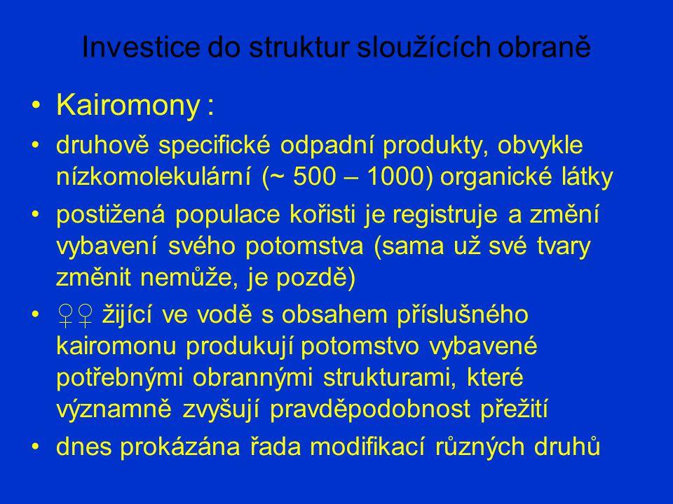 Investice do struktur sloužících obraně Kairomony : druhově specifické odpadní produkty, obvykle nízkomolekulární (~ 500 – 1000) organické látky posti