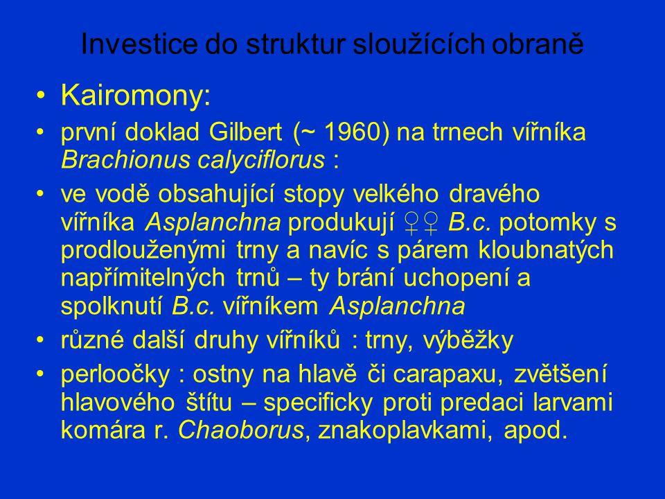 Investice do struktur sloužících obraně Kairomony: první doklad Gilbert (~ 1960) na trnech vířníka Brachionus calyciflorus : ve vodě obsahující stopy