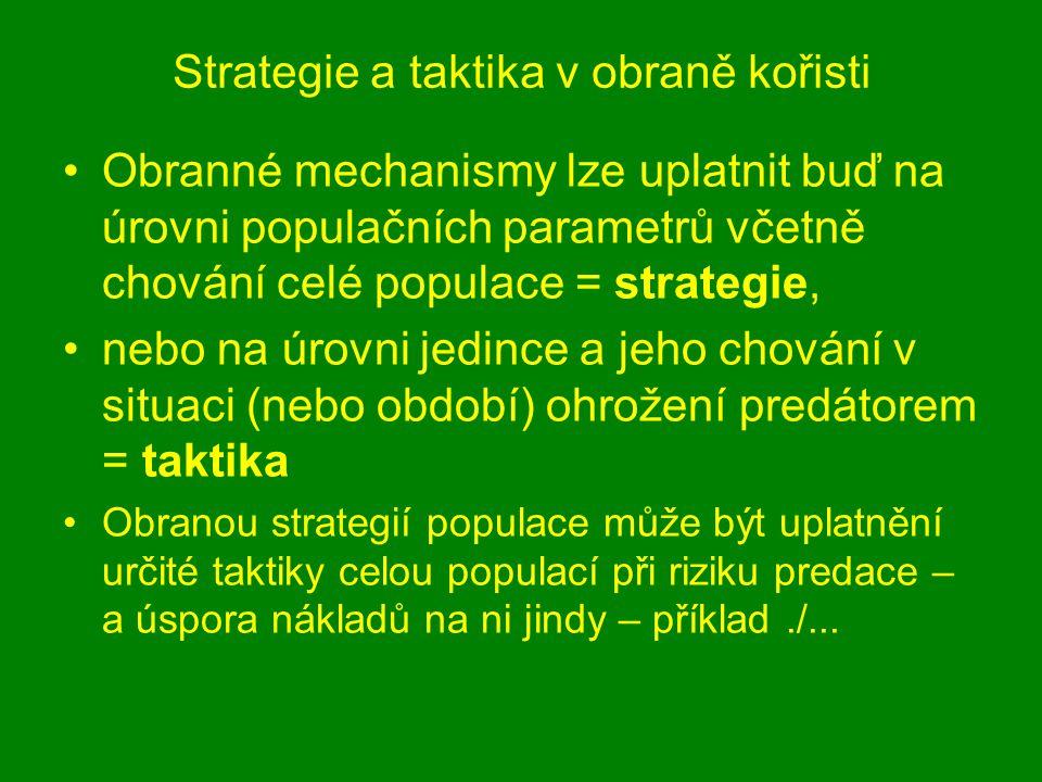 Strategie a taktika v obraně kořisti Obranné mechanismy lze uplatnit buď na úrovni populačních parametrů včetně chování celé populace = strategie, neb