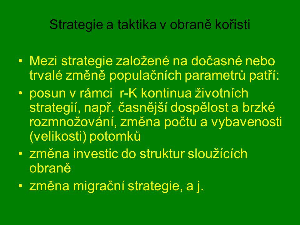 Strategie a taktika v obraně kořisti Mezi strategie založené na dočasné nebo trvalé změně populačních parametrů patří: posun v rámci r-K kontinua živo