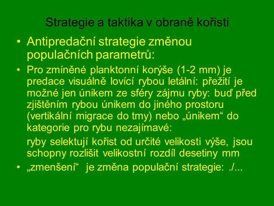 Strategie a taktika v obraně kořisti Antipredační strategie změnou populačních parametrů: Pro zmíněné planktonní korýše (1-2 mm) je predace visuálně l