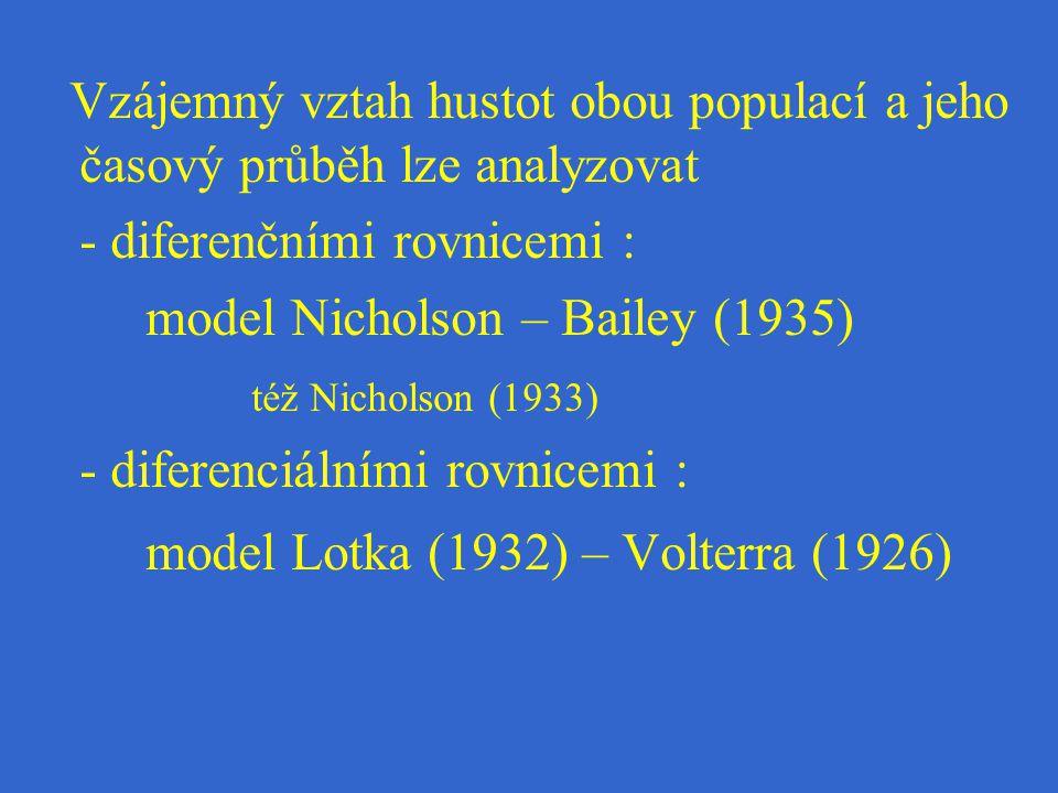 Vzájemný vztah hustot obou populací a jeho časový průběh lze analyzovat - diferenčními rovnicemi : model Nicholson – Bailey (1935) též Nicholson (1933) - diferenciálními rovnicemi : model Lotka (1932) – Volterra (1926)