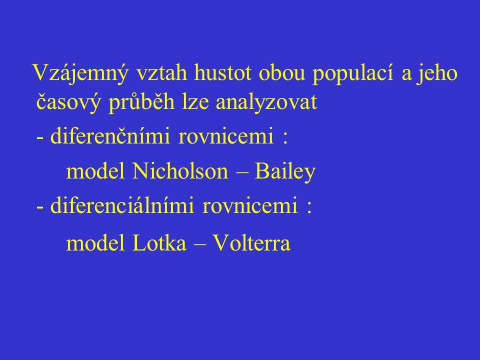 Vzájemný vztah hustot obou populací a jeho časový průběh lze analyzovat - diferenčními rovnicemi : model Nicholson – Bailey - diferenciálními rovnicemi : model Lotka – Volterra