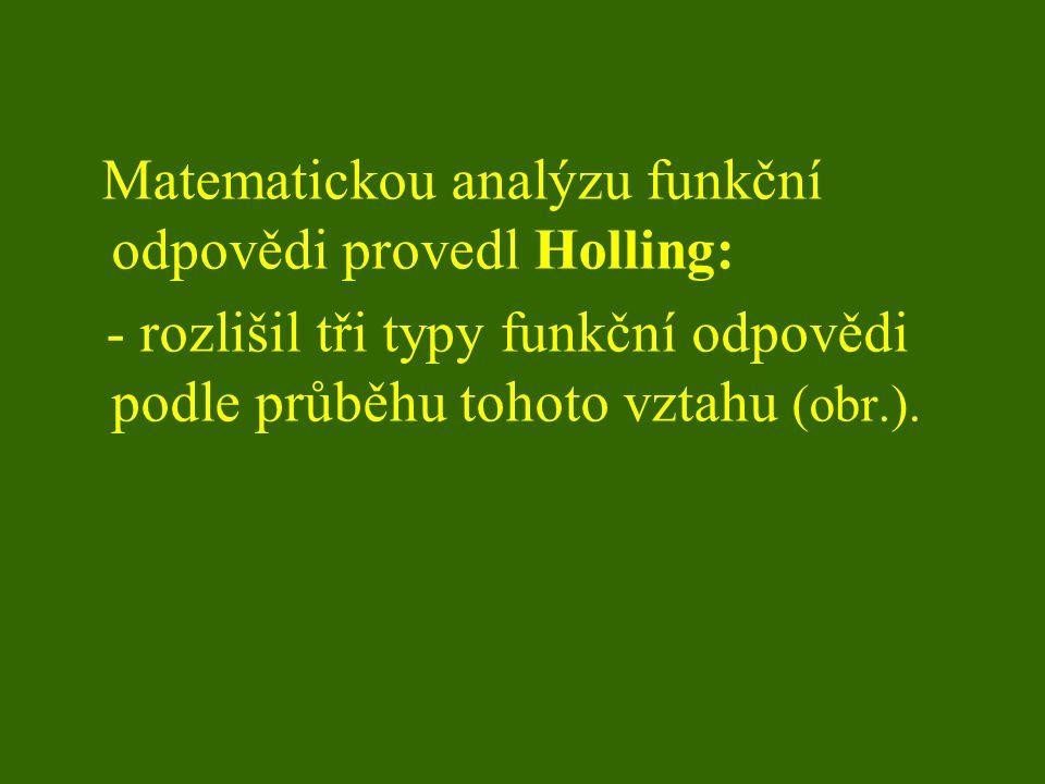 Matematickou analýzu funkční odpovědi provedl Holling: - rozlišil tři typy funkční odpovědi podle průběhu tohoto vztahu (obr.).
