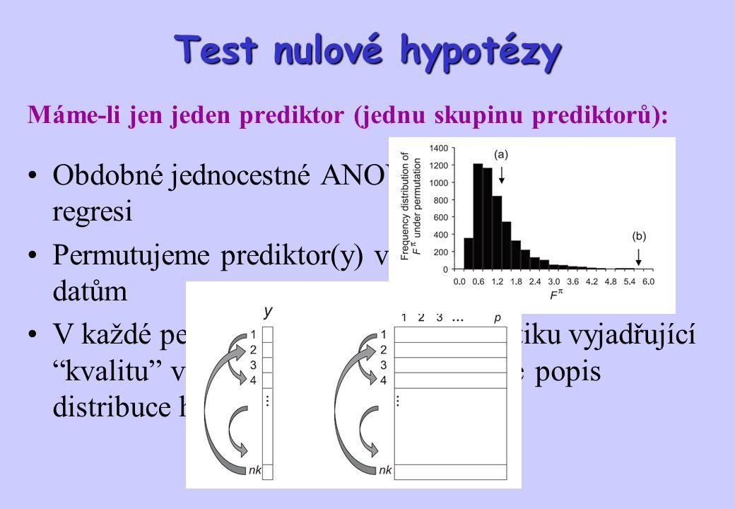 Test nulové hypotézy Máme-li jen jeden prediktor (jednu skupinu prediktorů): Obdobné jednocestné ANOVA nebo jednoduché regresi Permutujeme prediktor(y) ve vztahu k druhovým datům V každé permutaci vypočteme F statistiku vyjadřující kvalitu výsledné ordinace: vytváříme popis distribuce hodnot F
