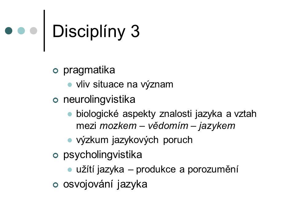 Disciplíny 3 pragmatika vliv situace na význam neurolingvistika biologické aspekty znalosti jazyka a vztah mezi mozkem – vědomím – jazykem výzkum jazy