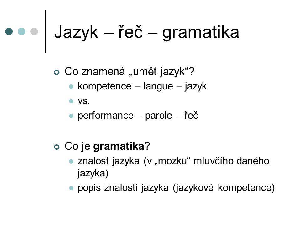 """Jazyk – řeč – gramatika Co znamená """"umět jazyk""""? kompetence – langue – jazyk vs. performance – parole – řeč Co je gramatika? znalost jazyka (v """"mozku"""""""
