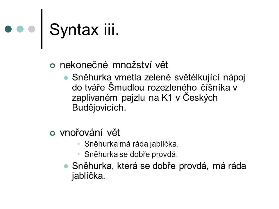 Syntax iii. nekonečné množství vět Sněhurka vmetla zeleně světélkující nápoj do tváře Šmudlou rozezleného číšníka v zaplivaném pajzlu na K1 v Českých