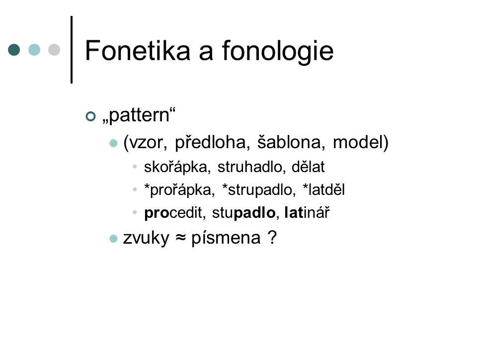 """Fonetika a fonologie """"pattern"""" (vzor, předloha, šablona, model) skořápka, struhadlo, dělat *prořápka, *strupadlo, *latděl procedit, stupadlo, latinář"""