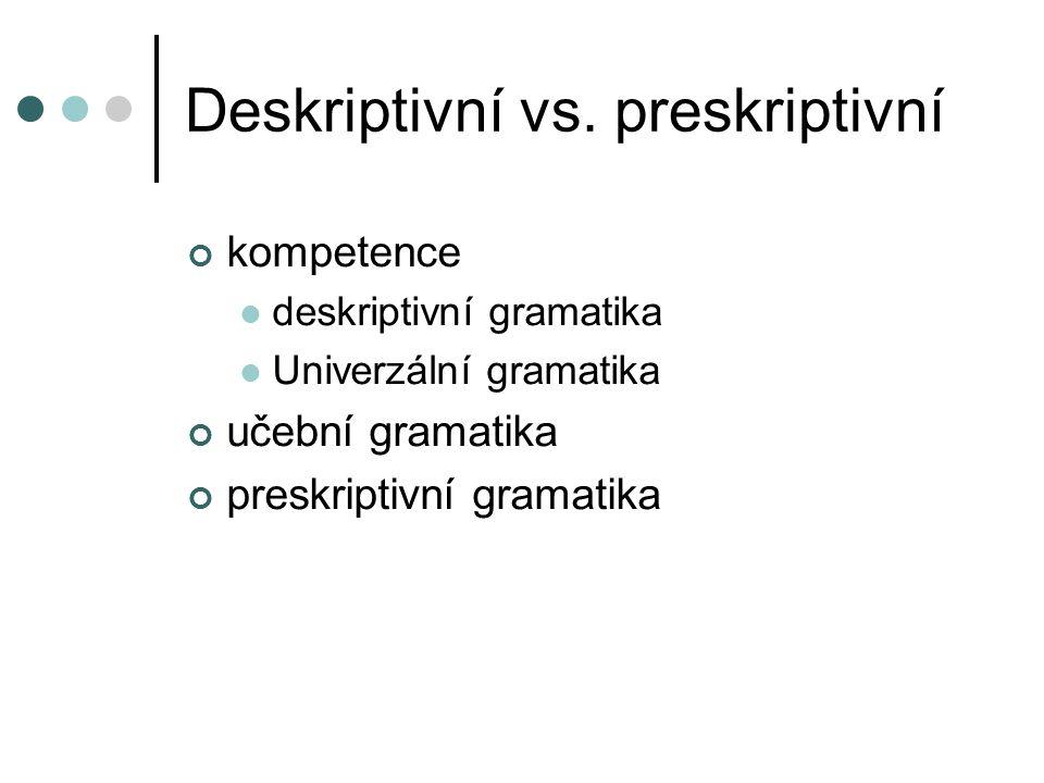 Deskriptivní vs. preskriptivní kompetence deskriptivní gramatika Univerzální gramatika učební gramatika preskriptivní gramatika