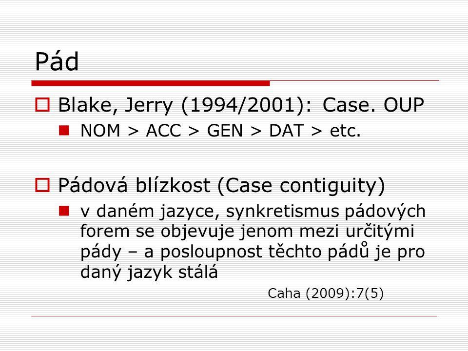Pád  Blake, Jerry (1994/2001): Case. OUP NOM > ACC > GEN > DAT > etc.  Pádová blízkost (Case contiguity) v daném jazyce, synkretismus pádových forem