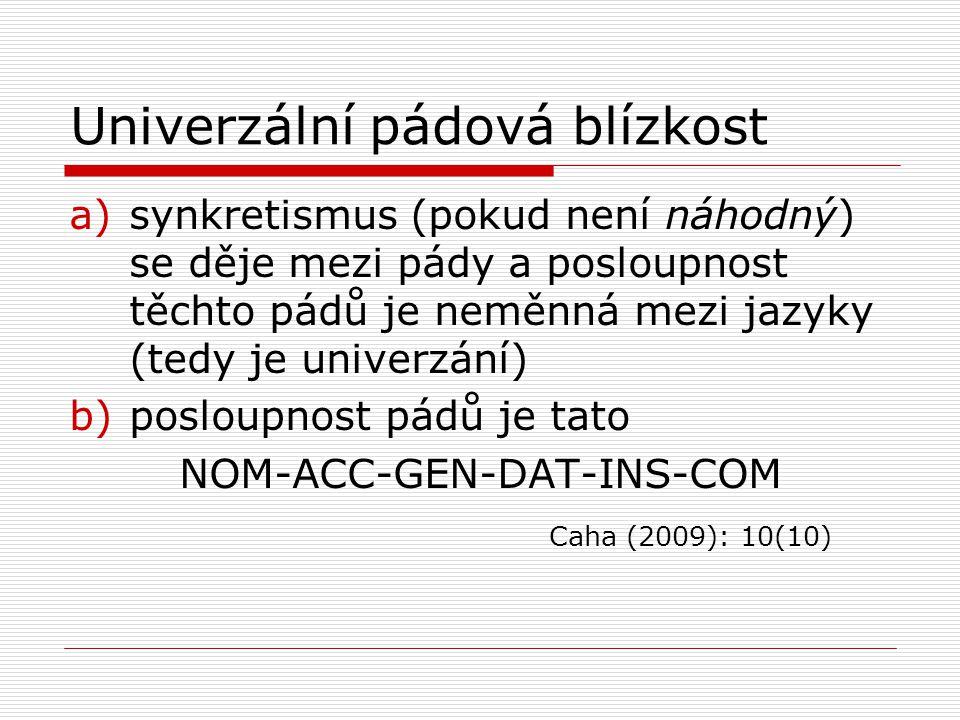 Univerzální pádová blízkost a)synkretismus (pokud není náhodný) se děje mezi pády a posloupnost těchto pádů je neměnná mezi jazyky (tedy je univerzání) b)posloupnost pádů je tato NOM-ACC-GEN-DAT-INS-COM Caha (2009): 10(10)